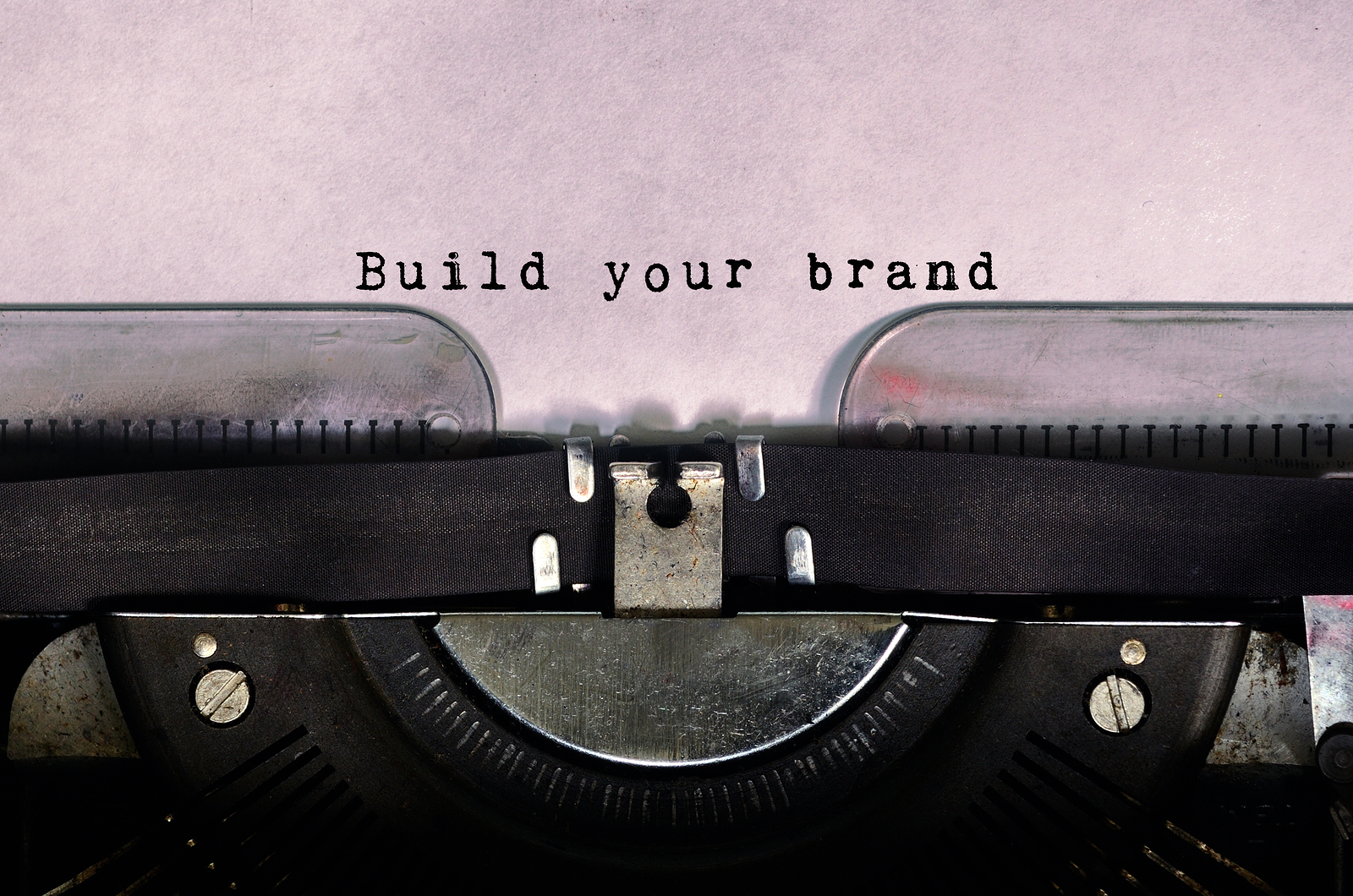 Build your brand typed on a vintage typewriter